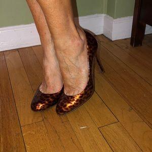 J Crew leopard patent almond toe pumps